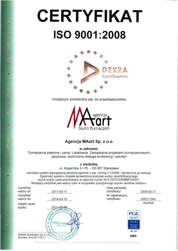 Certyfikat Agencji MAart - ISO 9001:2008