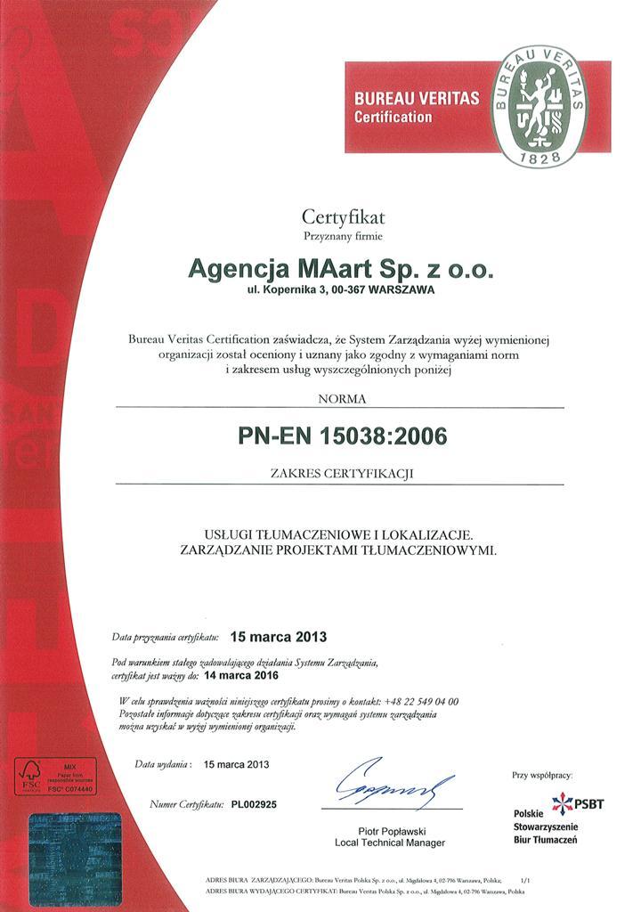 Certyfikat Agencji MAart - PN-EN 15038:2006