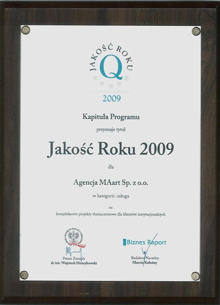 Nagroda dla Agencji MAart - Jakość Roku 2009