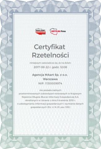 """Certyfikat Agencji MAart - Certyfikat Rzetelności """"Rzetelna Firma"""""""